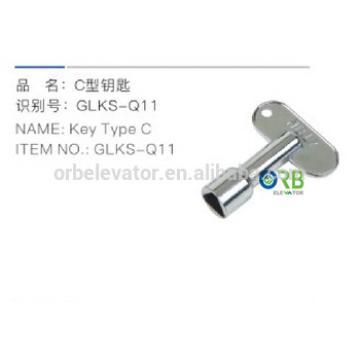 Type C key for elevator triangular door lock
