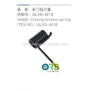Elevator door operator closing torsion spring